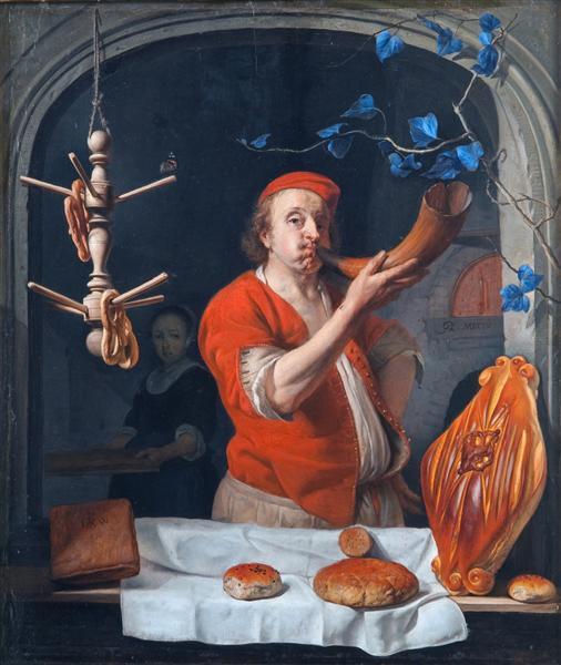 A Baker Blowing his Horn, c.1660 - Gabriël Metsu