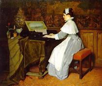 Still Life (Girl at a Spinet) - Gabriel von Max