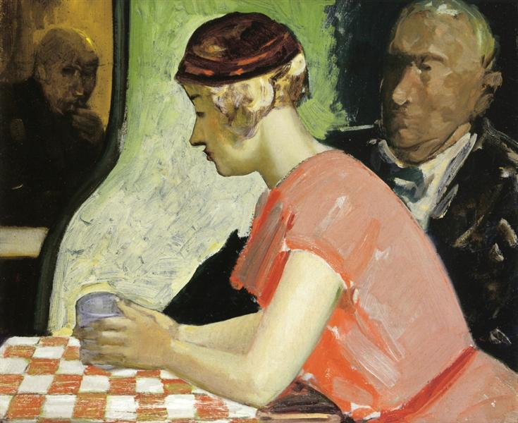 Cafe Scene (A Study of a Young Woman) - George Luks