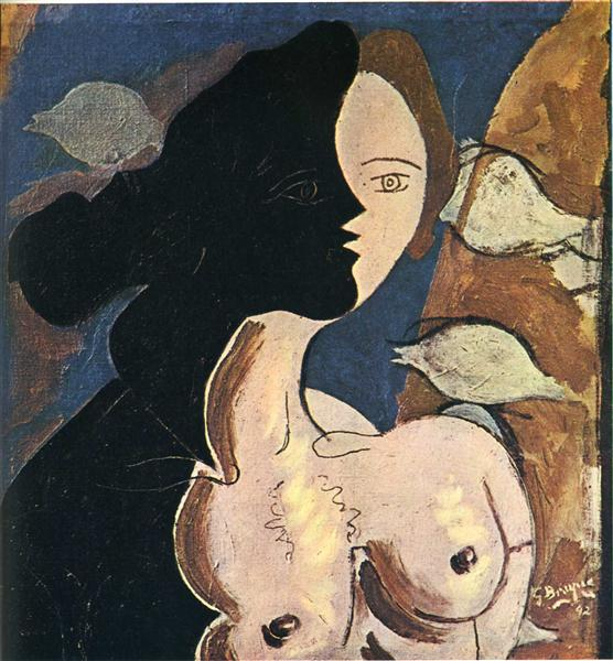 Figure double with marine background, 1942 - Georges Braque