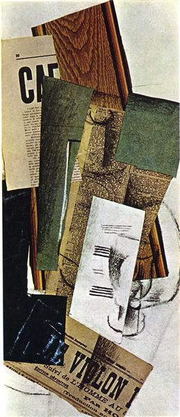 Glass Carafe and Newspapers, 1914 - Georges Braque