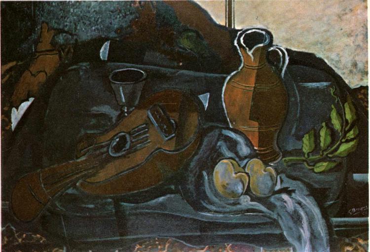 Mandolin, Glass, Pot and Fruit, 1927