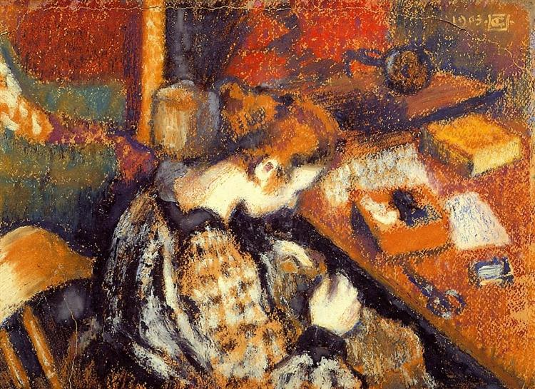 Young Woman Sewing, 1905 - Georges Lemmen