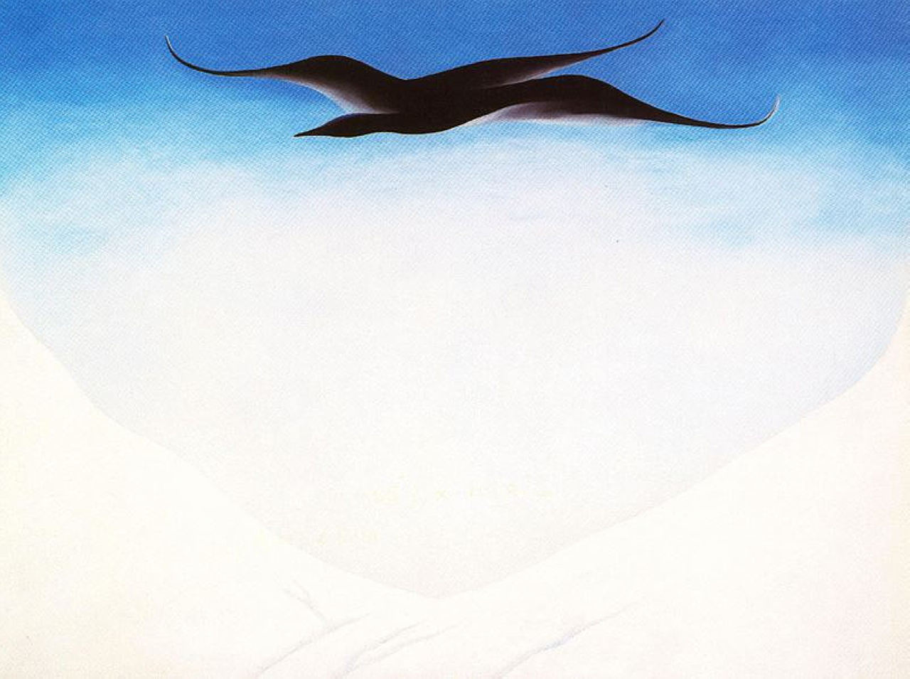 A Black Bird With Snow Covered Red Hills, by Georgia O'Keeffe