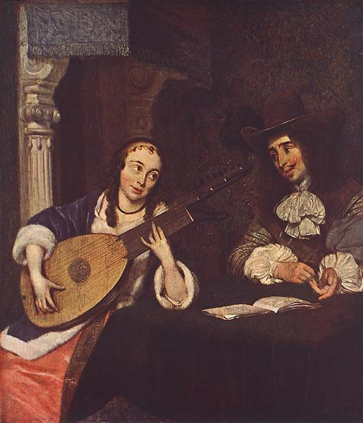 Woman Playing the Lute - Gerard ter Borch
