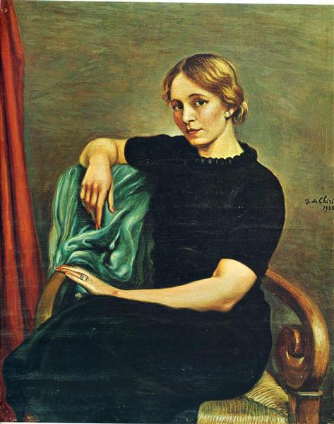 Portrait of Isa with black dress, 1935 - Giorgio de Chirico