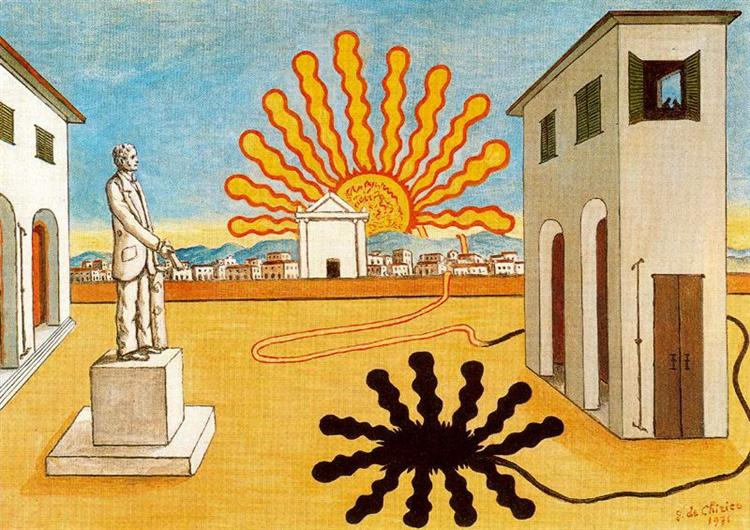 Rising sun on the plaza, 1976 - Giorgio de Chirico