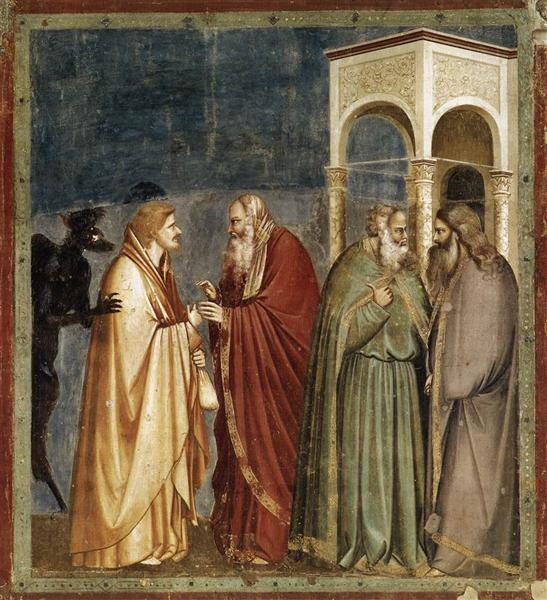Judas Receiving Payment for his Betrayal, c.1304 - c.1306 - Giotto