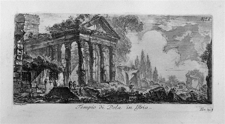 A marble plaque with the inscription: Roman Antiquities outside of Rome, drawn and engraved by Venetian architect Giambattista Piranesi, Part Two, c.1748 - Giovanni Battista Piranesi