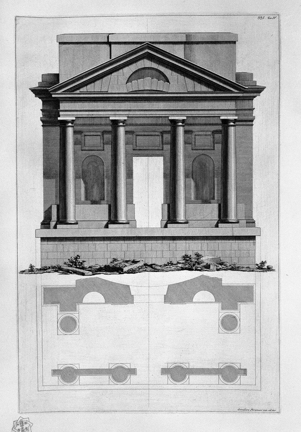 Sample Front Elevation Values : Elevation and plan of a temple giovanni battista