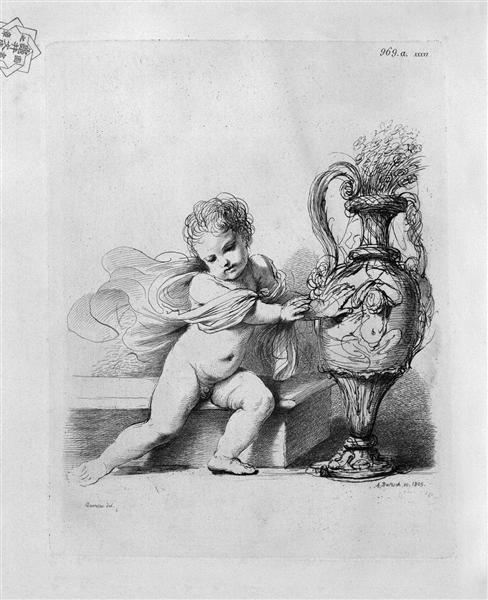 Cherub sitting next to a pitcher by Guercino - Giovanni Battista Piranesi