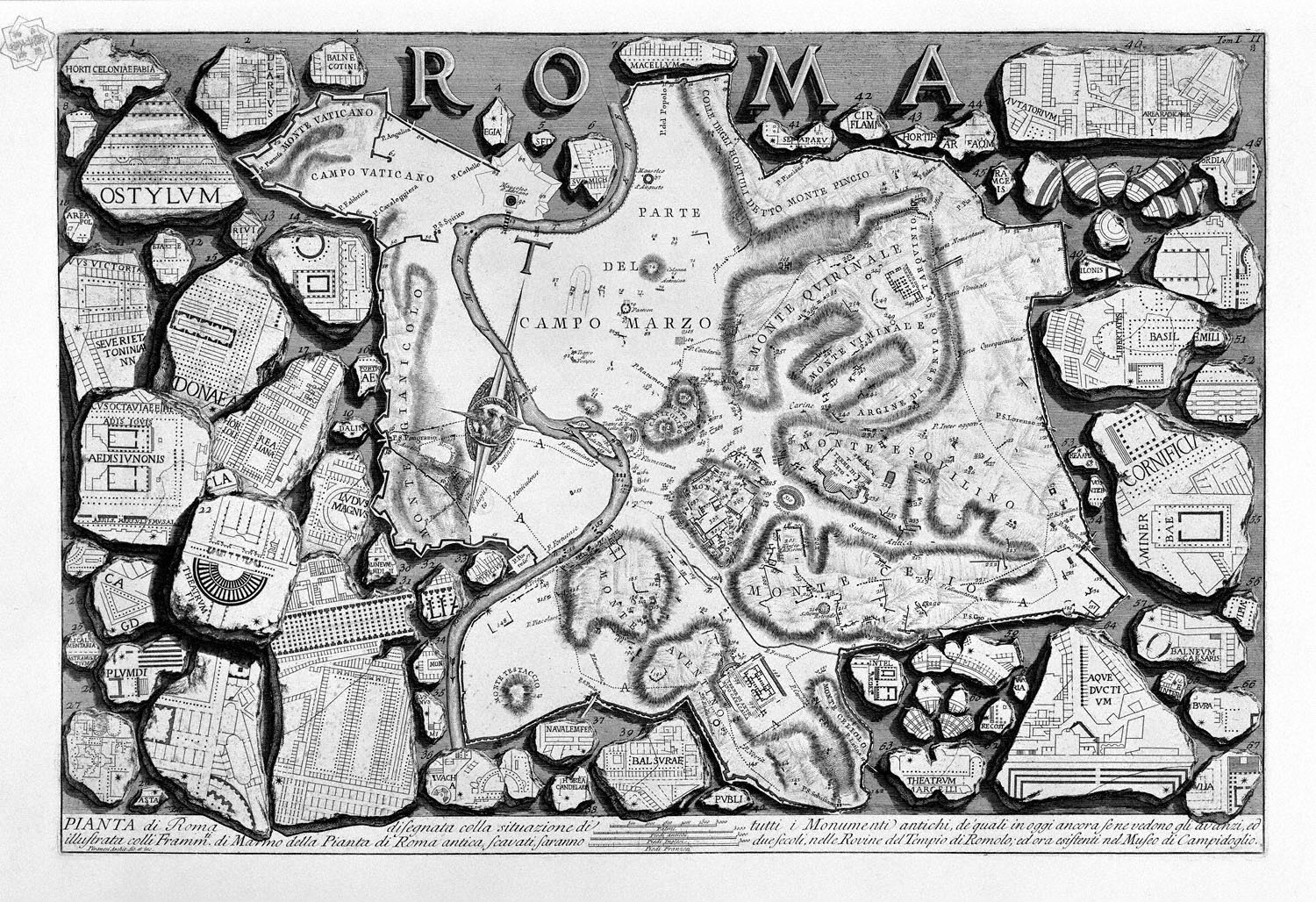 The Roman antiquities, t. 1, Plate II.  Map of ancient Rome and Forma Urbis., 1756