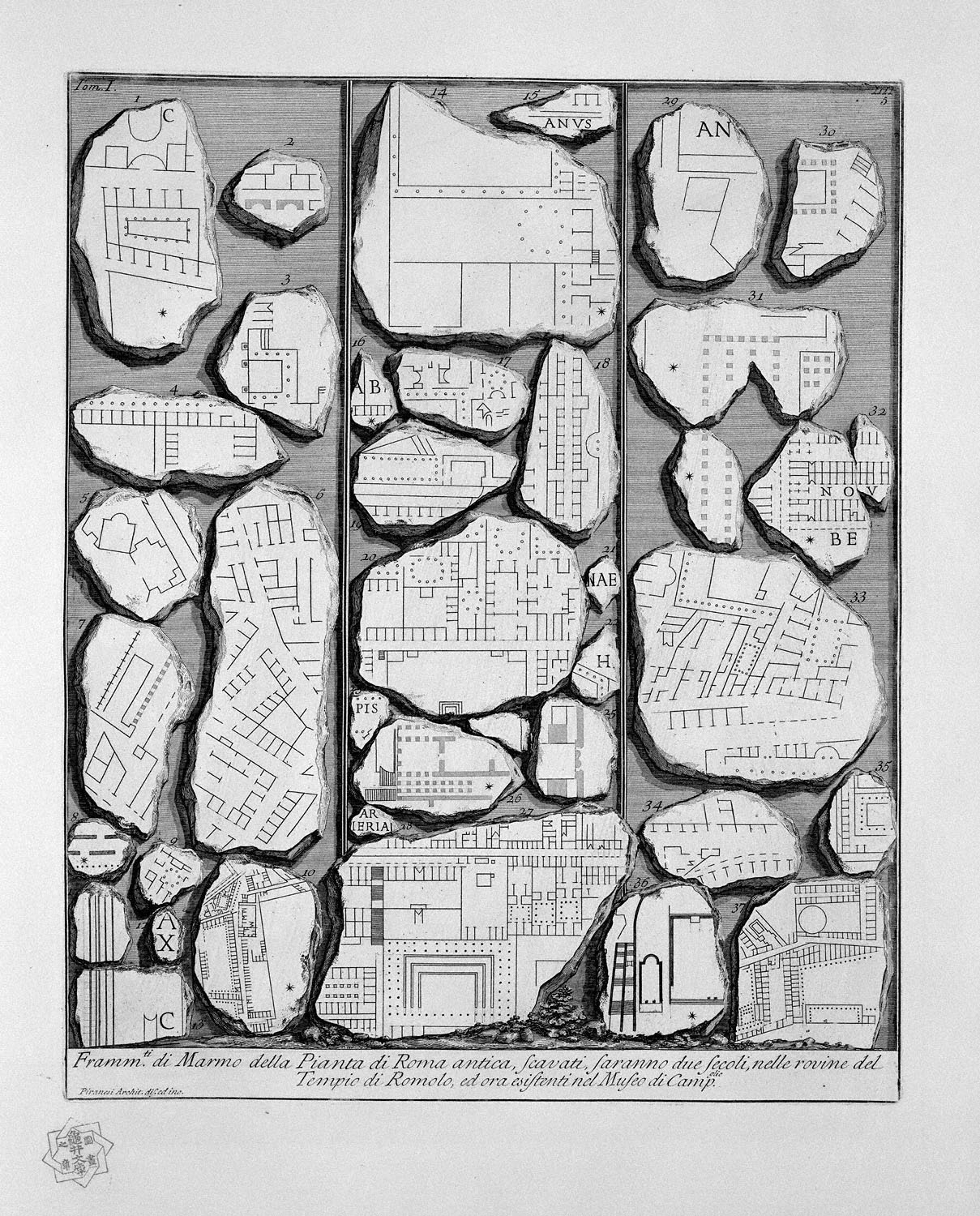 The Roman antiquities, t. 1, Plate IV.  Map of ancient Rome and Forma Urbis., 1756