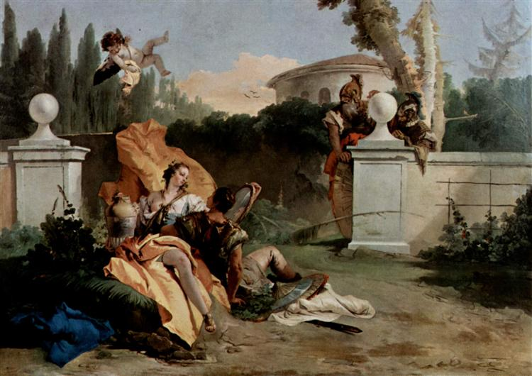 Rinaldo and Armida are surprised by Ubaldo and Carlo, 1755 - Giovanni Battista Tiepolo