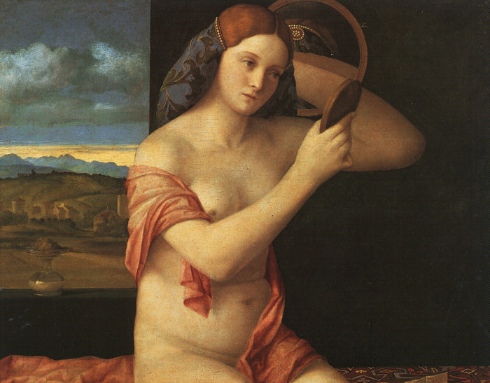 Naked young woman in front of the mirror, 1515 - Giovanni Bellini