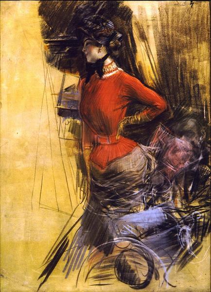 Lady in Red Coat, 1878 - Giovanni Boldini