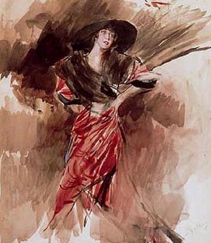Lady in Red Dress, 1916 - Giovanni Boldini
