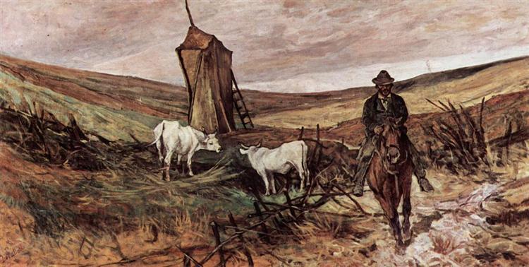 Berittener Hirte und Kühe, 1880 - Giovanni Fattori