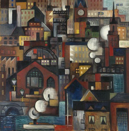 Stockholm från ateljén, 1919 - Gosta Adrian-Nilsson