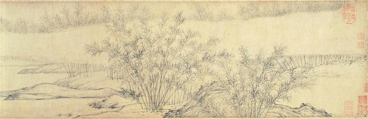 Bamboo Groves in Mist and Rain (detail), 1308 - Guan Daosheng
