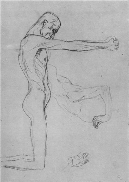 Kneeling Male Nude With Sprawled Out Arms, Male Torso, 1902 - Gustav Klimt