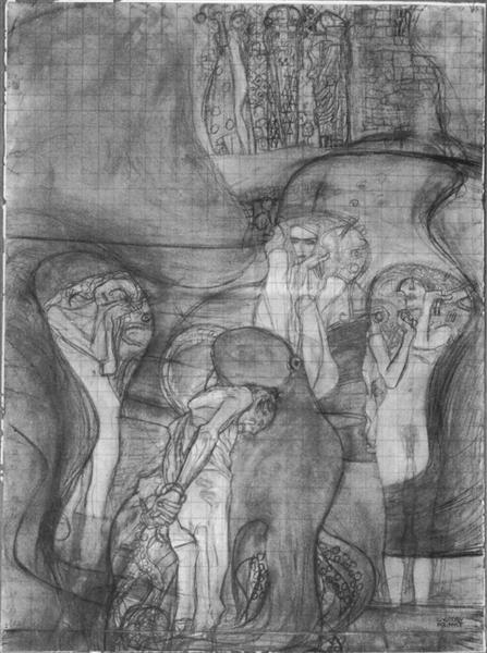 Painted composition draft Jusisprudenz, 1897 - 1898 - Gustav Klimt