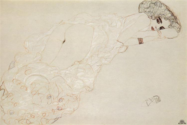 Reclining Nude Lying on Her Stomach and Facing Right, 1910 - Gustav Klimt