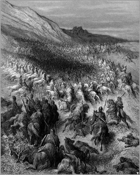 Crusaders surrounded by Saladin's army - Dore Gustave