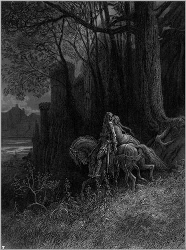 Geraint and Enid Ride Away - Gustave Dore