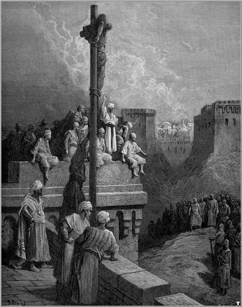 Gerard of Avesnes exposed on the walls of Arsuf - Gustave Dore