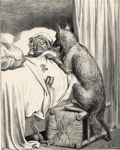 He sprang unpon the old woman and ate her up - Gustave Dore