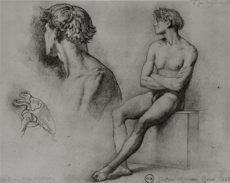 Male nude and other studies, 1858 - Gustave Moreau