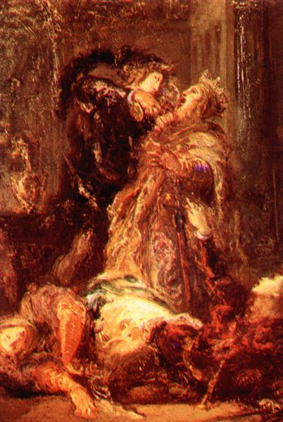 Prince Hamlet kill King Claudius - Gustave Moreau