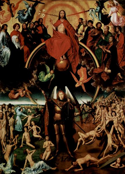 The Last Judgment, triptych, central panel Maiestas Domini with Archangel Michael weighing the souls, c.1467 - 1470 - Hans Memling