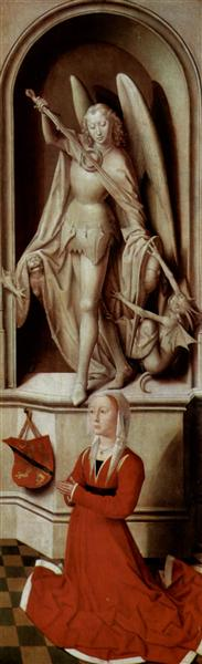 The Last Judgment triptych, right wing, Praying donor Catherine Tanagli with archangel Michael, 1467 - 1471 - Hans Memling