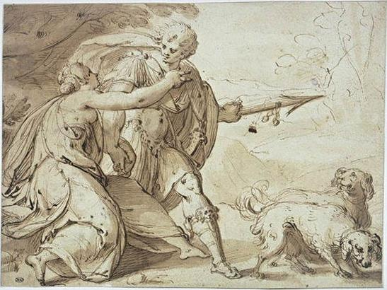 Adonis held back by Venus while going hunting, 1600