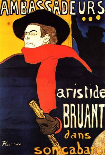 Ambassadeurs Aristide Bruant in his cabaret, 1892 - Henri de Toulouse-Lautrec