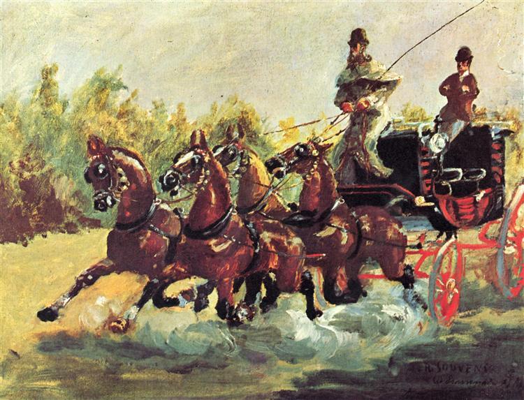 Count Alphonse de Toulouse Lautrec driving a four horse hitch, 1881 - Henri de Toulouse-Lautrec