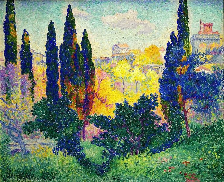 The Cypresses at Cagnes, 1908 - Henri-Edmond Cross