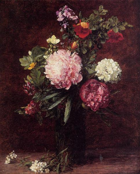 Flowers Large Bouquet with Three Peonies, 1879 - Henri Fantin-Latour