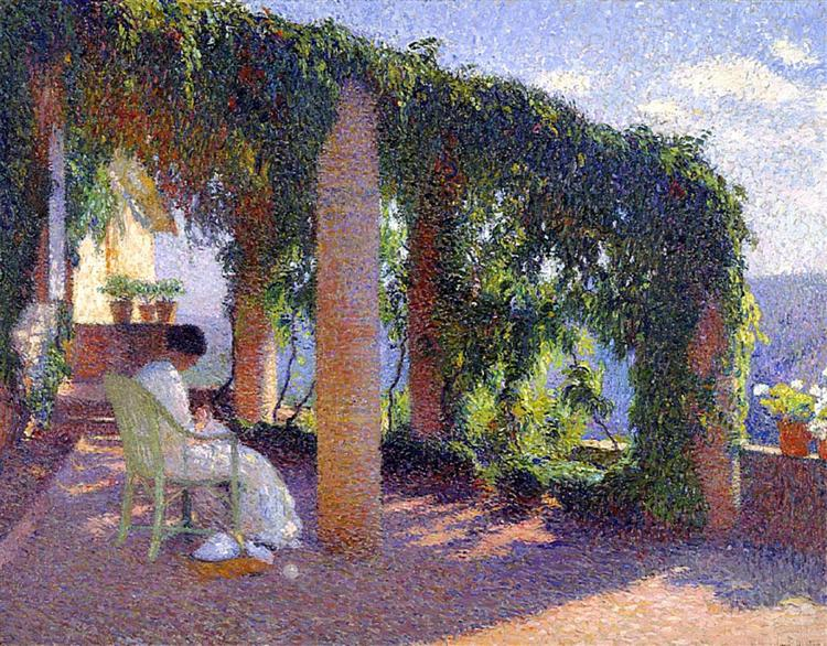 Woman Sewing on a Veranda - Henri Martin