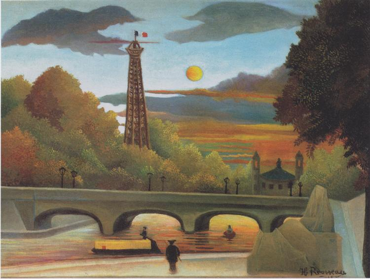 Seine and Eiffel tower in the sunset, 1910 - Henri Rousseau