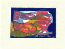'Fish and a Drink' - lithography print art, 1998; graphic artist Hilly van Eerten - Hilly van Eerten
