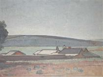 Southern Vales Landscape with Farm Settlement to Foreground - Horace Trenerry