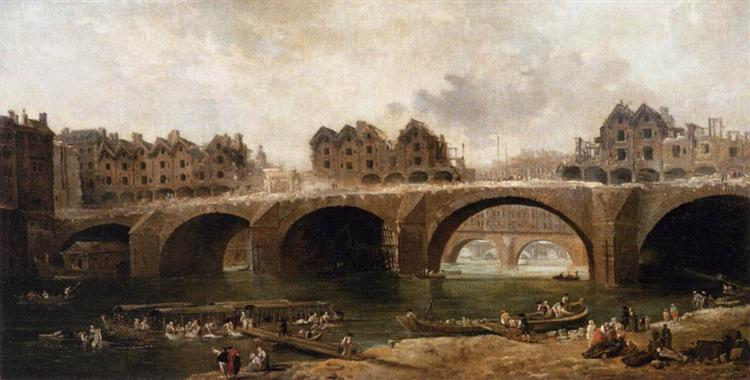 Demolition of the Houses on the Pont Notre-Dame in 1786 - Robert Hubert