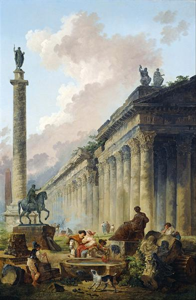 Imaginary View of Rome with Equestrian Statue of Marcus Aurelius, the Column of Trajan and a Temple - Hubert Robert