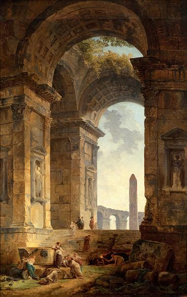 Ruins with an obelisk in the distance - Robert Hubert