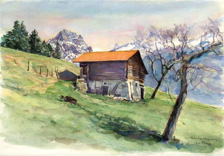 Mountain barn at 'Les Posses' above Gryon -Swiss landscape in watercolor painting, plain air, 2003 - Hubertine Heijermans