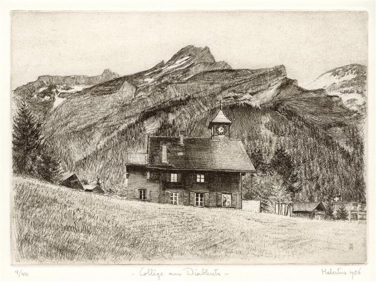 School-building of the Diablerets, in canton Vaud, Switzerland - etching print art, 1986 - Hubertine Heijermans