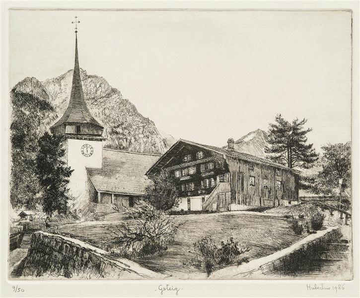 The church and tower of Gsteig,  in canton Bern, Switzerland - etching print art, c.1986 - Hubertine Heijermans